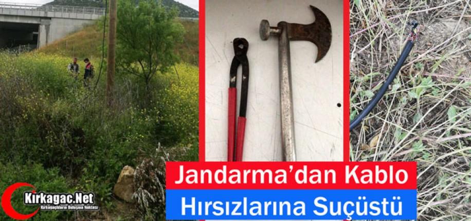 KIRKAĞAÇ'TA JANDARMA'DAN KABLO HIRSIZLARINA SUÇÜSTÜ