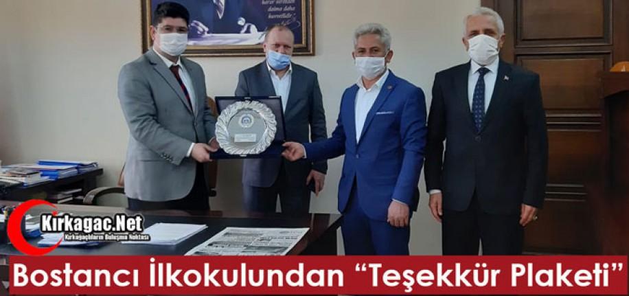 """BOSTANCI İLKOKULUNDAN """"TEŞEKKÜR PLAKETİ"""""""