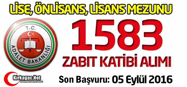 Adalet Bakanlığı 1583 Zabıt Katibi Alımı Yapıyor!