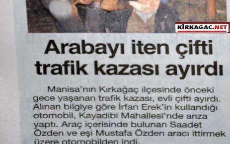 ARABAYI İTEN ÇİFTİ KAZA AYIRDI(HABERTÜRK)