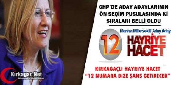 """CHP'Lİ HACET '12 NUMARA BİZE ŞANS GETİRECEK"""""""
