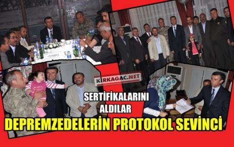 "DEPREMZEDELERİN 'PROTOKOL"" SEVİNCİ"