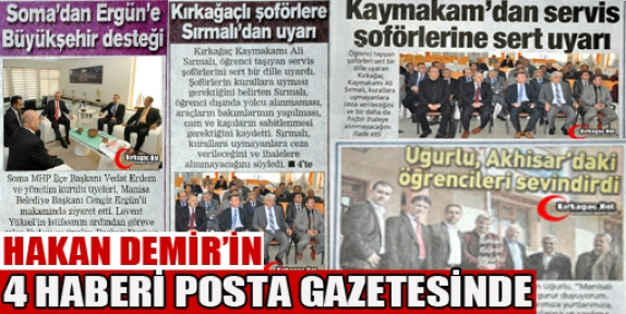HAKAN DEMİR'İN 4 HABERİ BUGÜN POSTA GAZETESİNDE