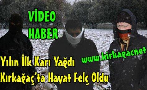 İlk Kar,Kırkağaç'ta Hayatı Felç Etti(VİDEO)