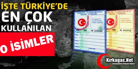 İŞTE TÜRKİYE'DE EN ÇOK KULLANILAN İSİMLER
