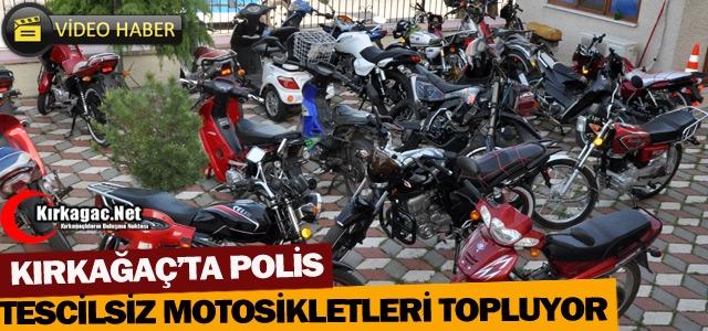 KIRKAĞAÇ'TA POLİS TESCİLSİZ MOTOSİKLETLERİ TOPLUYOR(VİDEO)