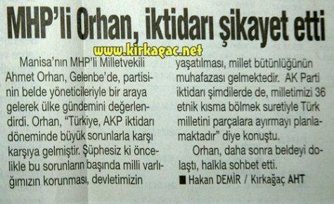 MHP'Lİ ORHAN,İKTİDARI ŞİKAYET ETTİ(HABERTÜRK)