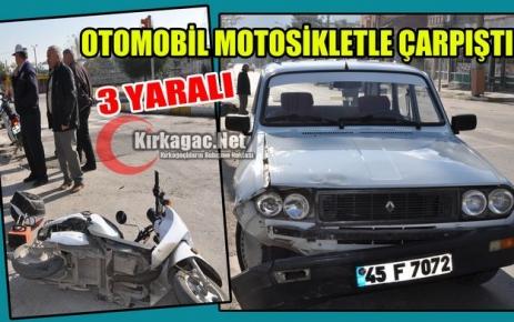 OTOMOBİL MOTOSİKLETLE ÇARPIŞTI 3 YARALI
