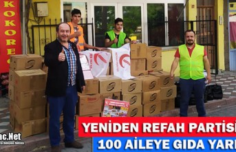 REFAH PARTİSİ'NDEN 100 AİLEYE GIDA YARDIMI