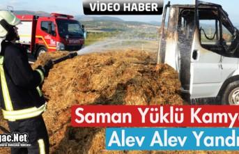 SAMAN YÜKLÜ KAMYONET ALEV ALEV YANDI(VİDEO)