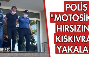 """POLİS """"MOTOSİKLET HIRSIZINI"""" KISKIVRAK..."""