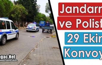 """JANDARMA ve POLİSTEN """"29 EKİM"""" KONVOYU"""