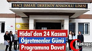HİDAL'DEN ÖĞRETMENLER GÜNÜ PROGRAMINA DAVET
