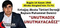 DEMİRCİ 'AHISKA TÜRKLERİ SÜRGÜNÜNÜ...