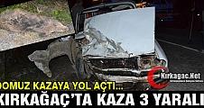 YOLA FIRLAYAN DOMUZ KIRKAĞAÇ'TA KAZAYA YOL AÇTI 3 YARALI