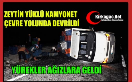 ZEYTİN YÜKLÜ KAMYONET ÇEVRE YOLUNDA DEVRİLDİ