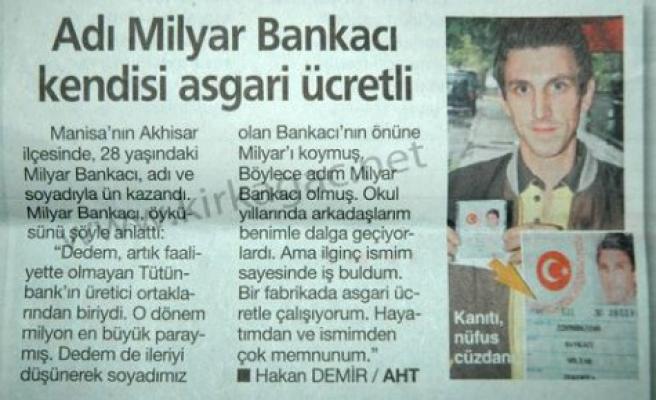 """""""MİLYAR BANKACI"""" HABERİMİZ(HABERTÜRK GAZETESİNDE)"""