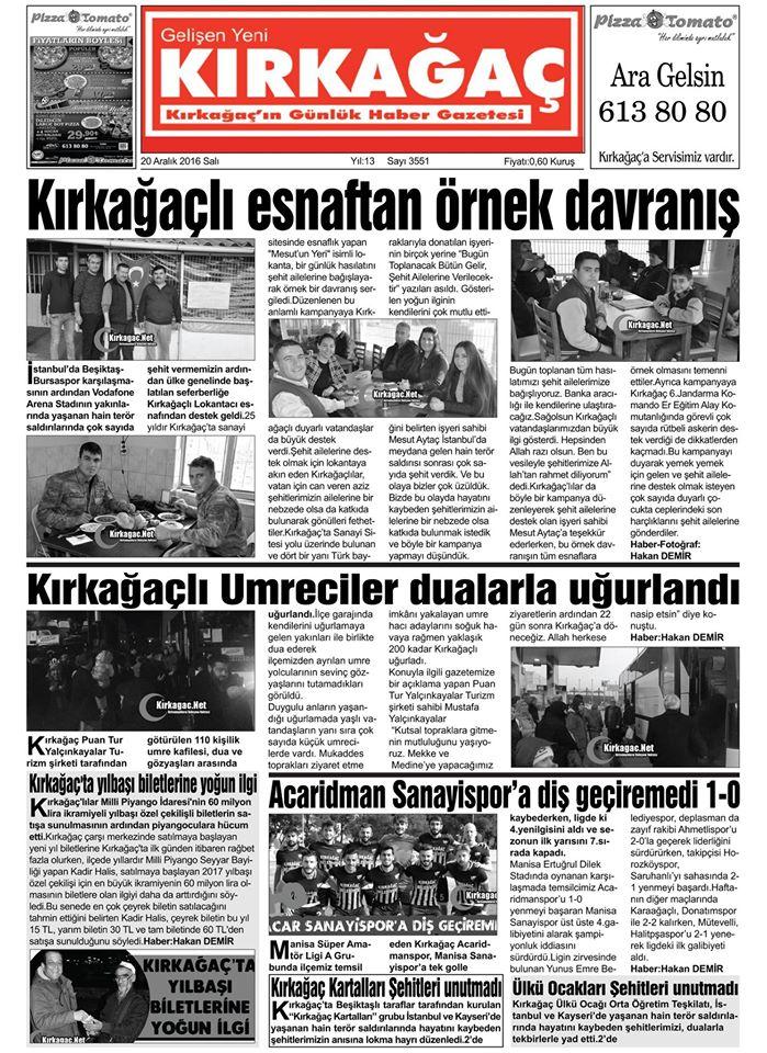 Kırkağaç Haber-Kırkağaç Haberleri-Kırkağaç-KirkagaçNet-Hakan Demir - 21 Aralık 2016 Manşeti