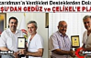 ACARİDMAN'DAN GEDÜZ ve ÇELİKEL'E PLAKET