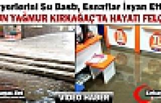 KIRKAĞAÇ'TA İŞYERLERİNİ SU BASTI, ESNAFLAR...