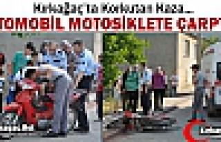 OTOMOBİL MOTOSİKLETE ÇARPTI